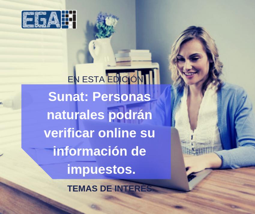 Sunat: Personas naturales podrán verificar online su información de impuestos