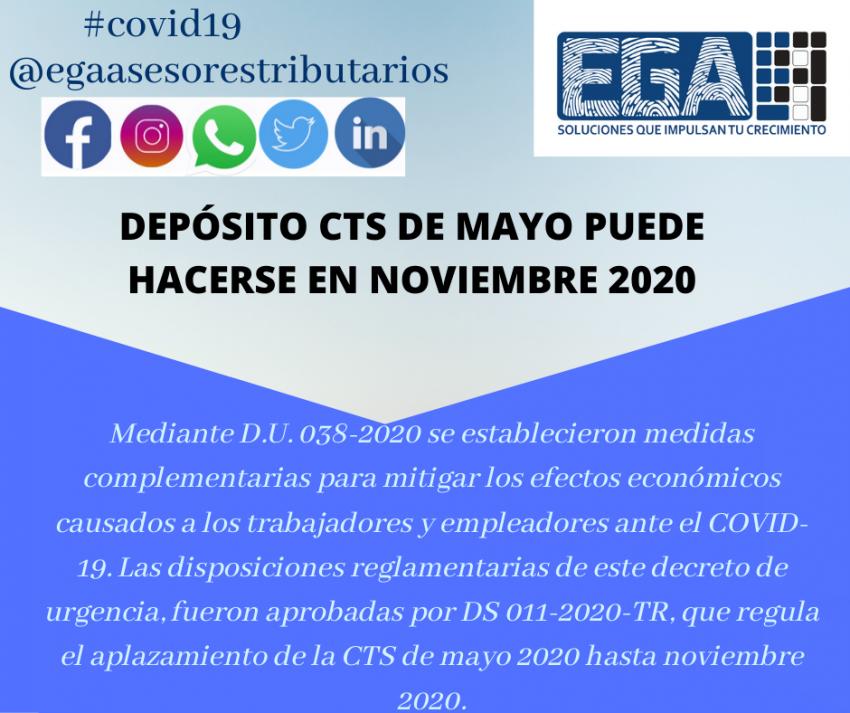 DEPÓSITO CTS DE MAYO PUEDE HACERSE EN NOVIEMBRE 2020