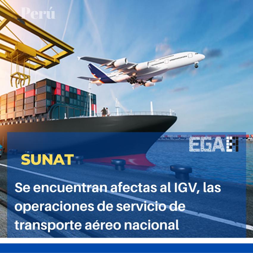 Se encuentran afectas al IGV, las operaciones de servicio de transporte aéreo nacional