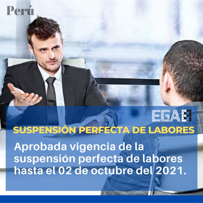 SUSPENSIÓN PERFECTA DE LABORES SE PODRÁ APLICAR HASTA EL 02 DE OCTUBRE