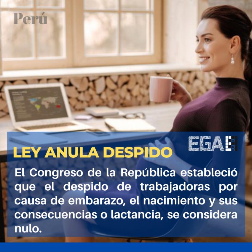 LEY QUE ANULA EL DESPIDO LABORAL POR EMBARAZO, NACIMIENTO O LACTANCIA
