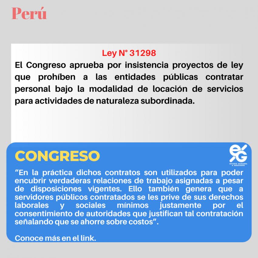 CONGRESO APRUEBA POR INSISTENCIA PROYECTO DE LEY QUE PROHIBIRÁ CONTRATOS DE LOCACIÓN DE SERVICIOS