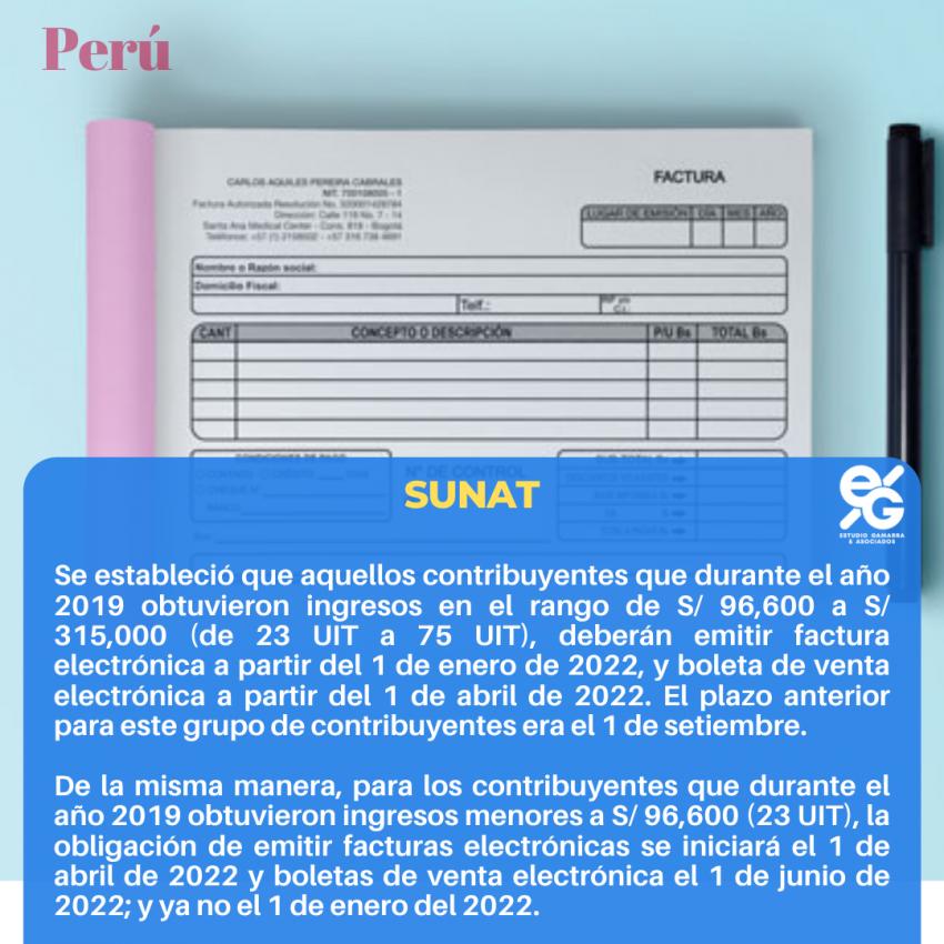 RESOLUCIÓN DE SUPERINTENDENCIA Nº 000128-2021/SUNAT: SE AMPLIA PLAZO PARA LA EMISIÓN DE FACTURAS Y BOLETAS DE VENTA ELECTRÓNICAS