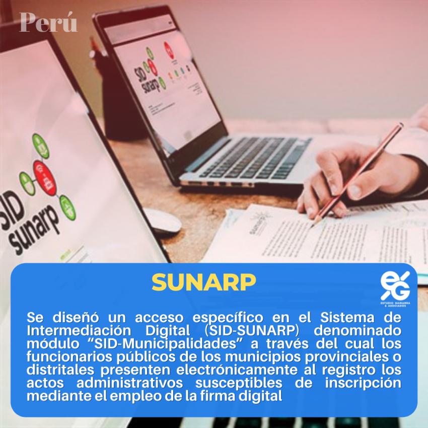 El módulo SID Municipalidades del Sistema de Intermediación Digital de la SUNARP