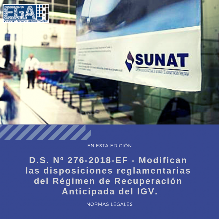 Modifican las disposiciones reglamentarias del Régimen de Recuperación Anticipada del IGV.